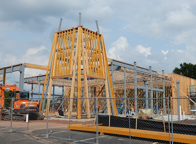 The Lazy Dog Café is under construction in The Field at Commonwealth shopping center.