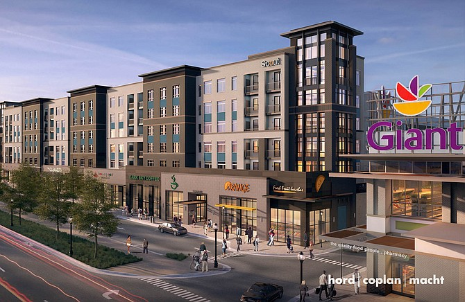 Artist's rendition of the residential and retail planned for Scout on the Circle.