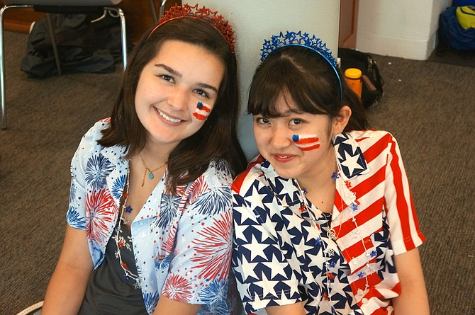 Eva Williams-Siguenza and Honatsu Tanaka show off their star-spangled costumes.