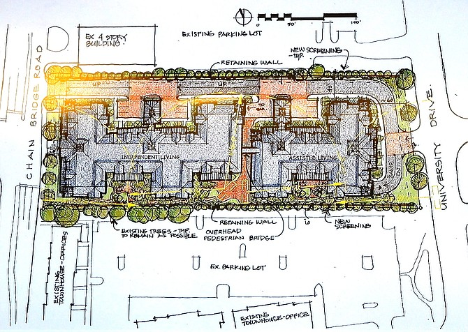 The conceptual plan for Sunrise Senior Living's proposed new facility in the City.