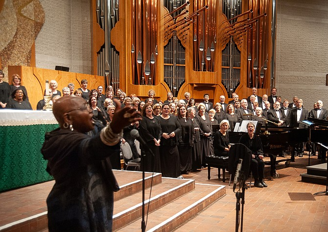 Inspired by the October 2018 community sing led by composer/singer Ysaye Barnwell (front), The Reston Chorale will kick off its 2019-20 Season on Oct. 20 with 'I Dream a World,' featuring traditional spirituals and works by African-American composers supported in part by the fiscal year 2020 Operating Support Grant award by ARTSFAIRFAX.