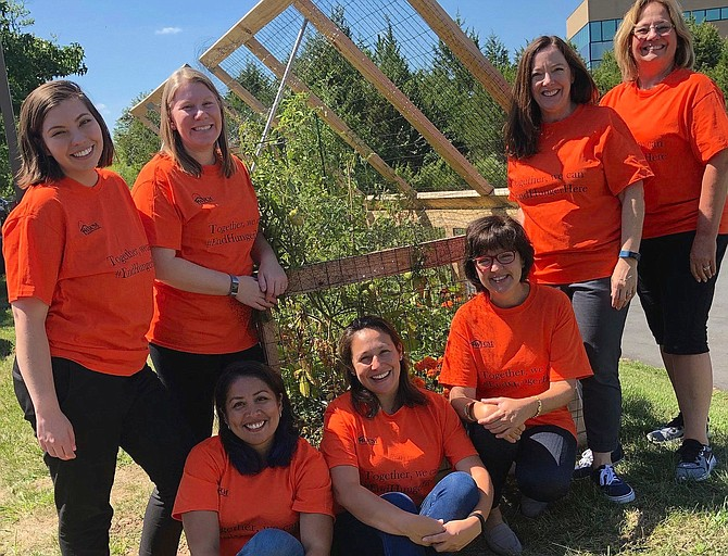 "WFCM staff members in their garden that helps provide clients with fresh vegetables. Standing, from left are Grace Foust, Client Services Director; Harmonie Taddeo, Executive Director; Jennie Bush, Community Outreach Manager; and Debbie Culbertson, Food Pantry Assistant Manager/Volunteer Coordinator. Sitting, from left are Dolly Bonta-Reavis, Client Intake Assistant; Pamela Montesinos, Food Pantry Director; and Mary Ellen D'Andrea, Development Director. (Not pictured: Lillian Diaz, Client Support Specialist). Orange is the national color of hunger, and their Hunger Action Month T-shirts read, ""Together we can #EndHungerHere."""