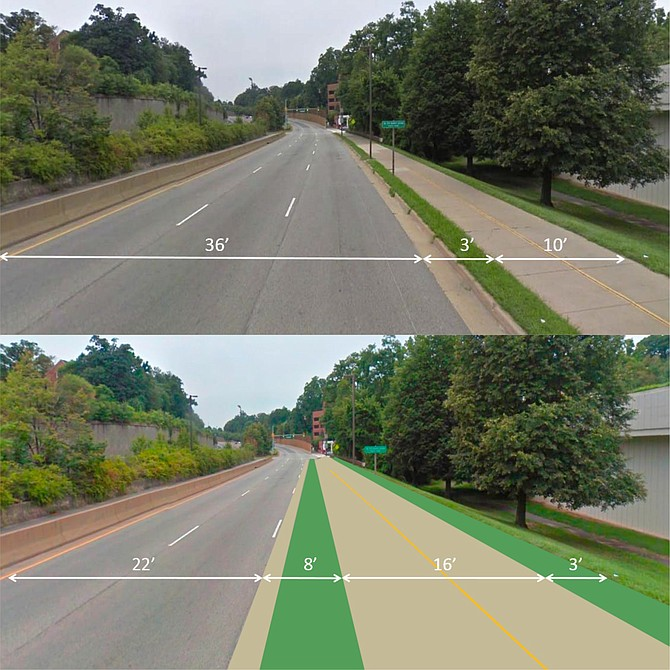 The trail will be wider and farther away from traffic in the second phase of the Lynn Street Esplanade and Custis Trail Improvements project in Rosslyn.
