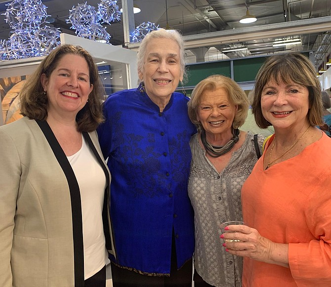 Torpedo Factory Art Center founder Marian Van Landingham, second from left, with Allison Silberberg, Harlene Clayton and Jayne Clancy at the Sept. 12 reception in Van Landingham's honor.