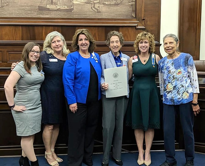 DAR members from the John Alexander Chapter at the Constitution Day Proclamation signing:  Amanda Hayes, Eve Stocker, Amy Jackson (Council member), Linda Greenberg, chair of the event, Chris Mumm, Regent, and Ruth Bennett.