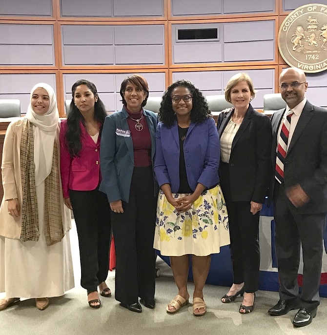 Left to right: Abrar E. Omeish, Priscilla DeStefano, Rachna S. Heizer, Karen A. Keys-Gamarra, Cheryle A. Buford, and Vinson X. Palathingal are 2019 candidates for the three seats for Fairfax County School Board at large member.
