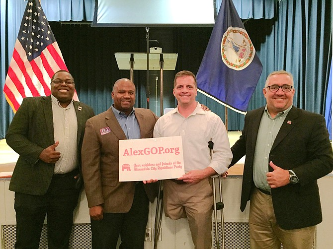 The Alexandria Republican City Committee (ARCC) hosted several candidates at its September meeting: (L-R) Jeff Dove (candidate for Congress in 2020), D.J. Jordan (2019 Republican nominee for Virginia House of Delegates, District 31), Daniel Gade (candidate for US Senate in 2020), and Sean Lenehan (ARCC Chairman).