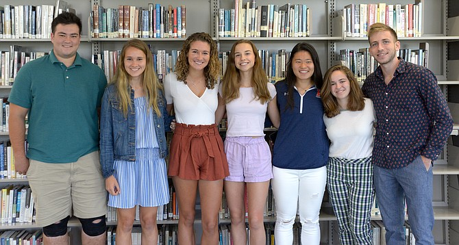 The 2019 Potomac School National Merit semifinalists. From left: Chris Gaston, Addison Marin, Courtney Brandt, Katherine Plaza, Jodie Kuo, Caroline Semel, and Dan Alexander.