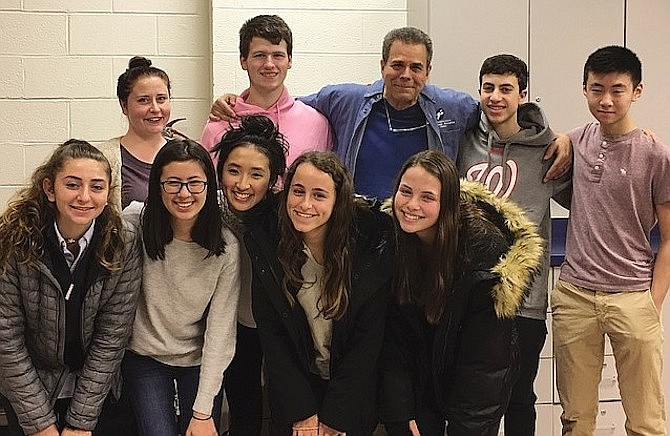 Friends Advisory Board of the Potomac Community Center added an adjunct student advisory group. Top row: Beth Coffman, Assistant Director of Potomac Community Center; Luke Sumberg; Peter Selikowitz, Director of Potomac Community Center; Adam Horowitz; Andrew Chan. Bottom row: Sydney Rodman; Macafie Bobo; Abbey Zheng, Julia Greenberg, Jordyn Reicin.