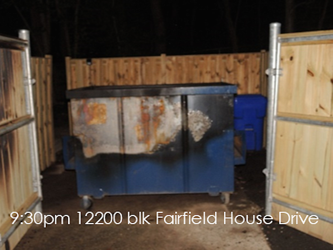 Fire investigators seek information on two dumpster fires in the 12200 block of Fairfield House Drive in the Fair Oaks area.