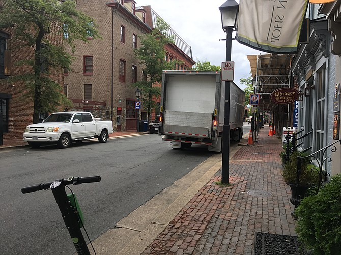 Noise and trucks dominate Union Street.