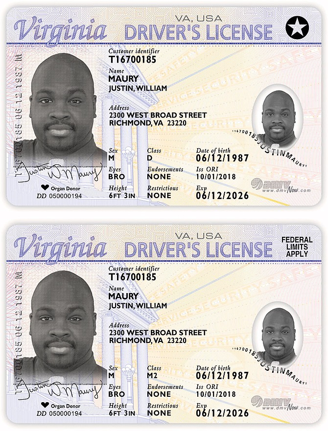 Examples of REAL IDs: the compliant ID has the star in the corner. The non-compliant ID soon will not be able to be used for boarding a flight or getting onto secure federal bases.