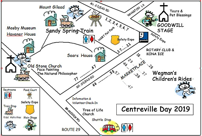 Map of Centreville Day 2019 attractions and activities.