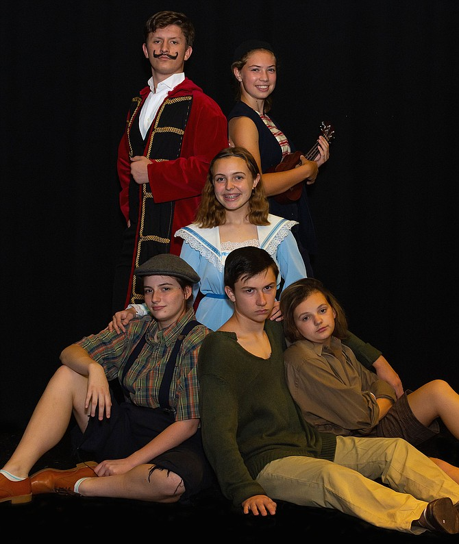 "Performing in Westfield High's ""Peter and the Starcatcher"" are (top row, from left) Matthew Krelovich (Black Stache) and Beverly D'Andrea (Smee); (middle) Kylee Weimeister (Molly); and (bottom row, from left) Julia Manser (Ted), Jason Tongarm (Peter) and Cassandra White (Prentiss)."