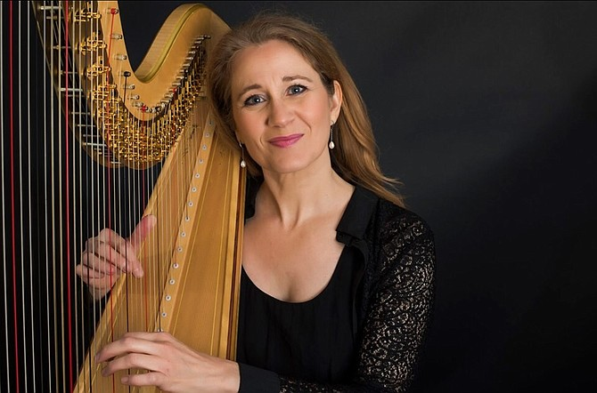 Featured artist, harpist Isabelle Frouvelle, performing with the Virginia Chamber Orchestra.