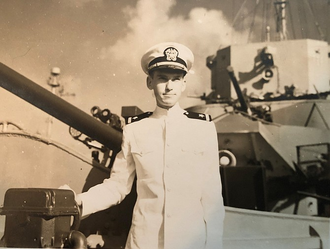 Philip Lundeberg aboard the USS Frederick C. Davis just weeks before it was hit by a German torpedo and sunk in the North Atlantic during World War II. Lundeberg was one of just 27 survivors.