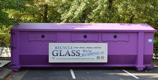There is a purple bin for recycling glass at the Mount Vernon Government Center at 2511 Parkers Lane, Mt. Vernon, VA, 22306.