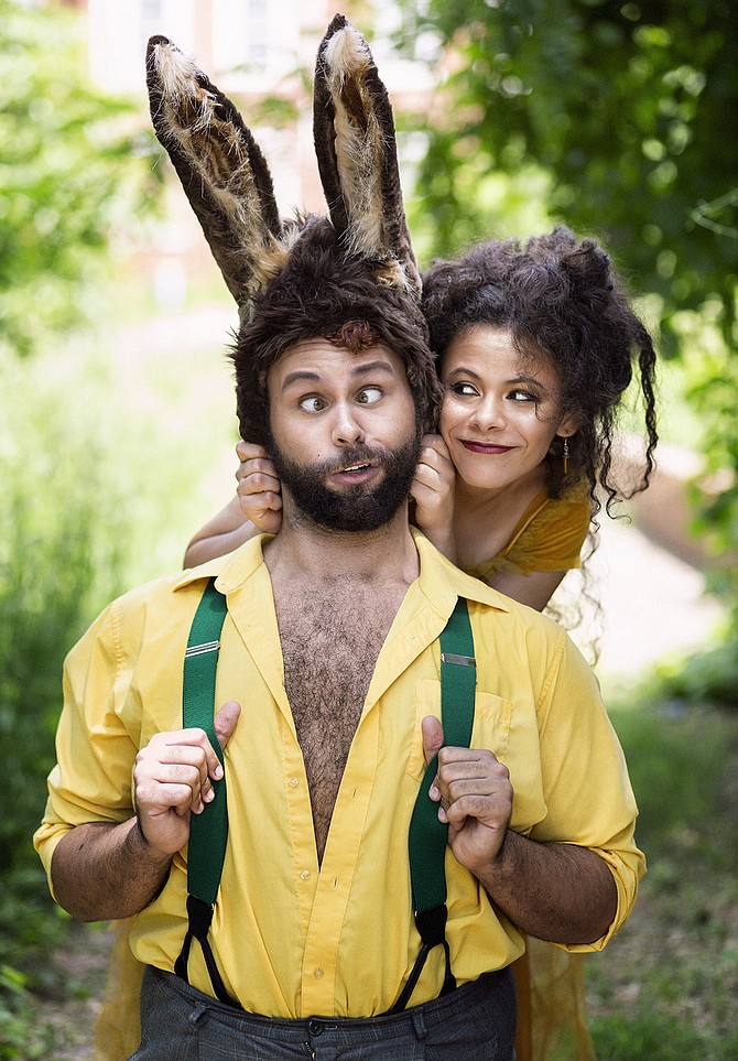 From left: Topher Embrey, who plays Bottom, and Madeline Calais, who plays Puck, in 'A Midsummer Night's Dream' on the American Shakespeare Center National Tour, directed by Nathan Winkelstein.