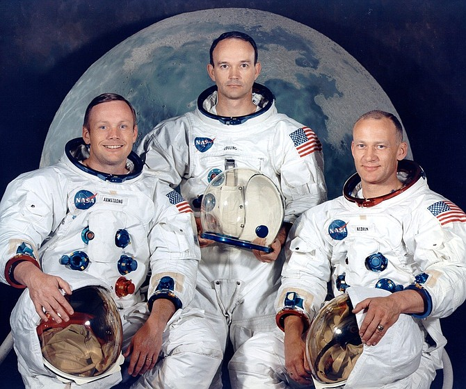 "Official crew photo of the Apollo 11 Prime Crew. From left are astronauts Neil A. Armstrong, Commander; Michael Collins, Command Module Pilot; and Edwin E. ""Buzz"" Aldrin, Lunar Module Pilot."