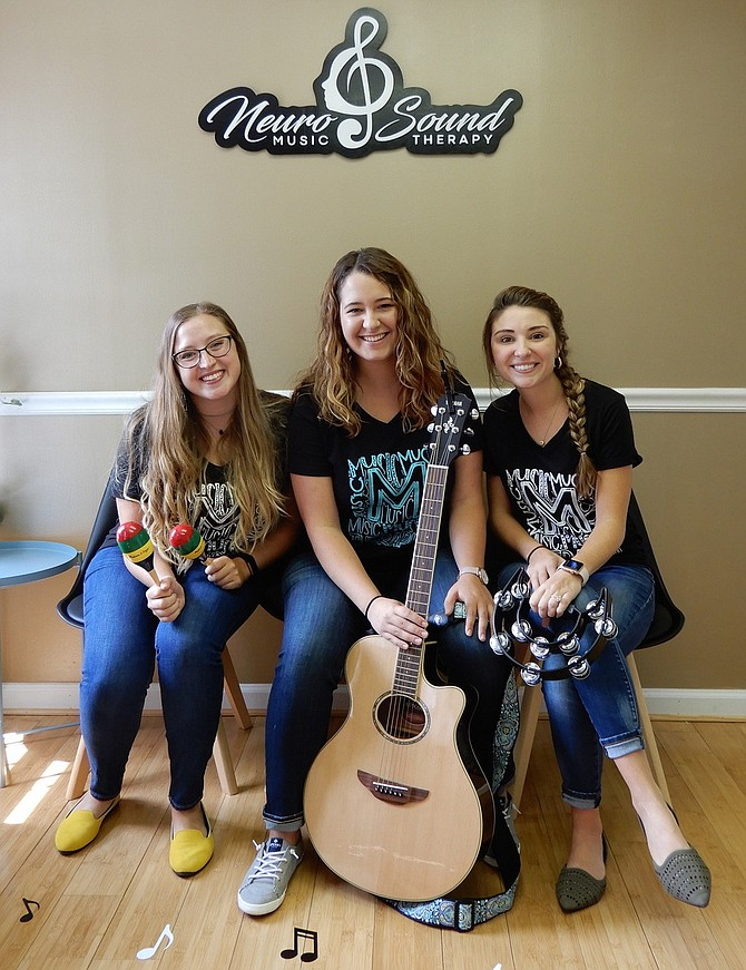 (From left) are NeuroSound music therapists Zoe Gleason Volz, Alyssa Blackburn and Kelsi Yingling-Tafaro.