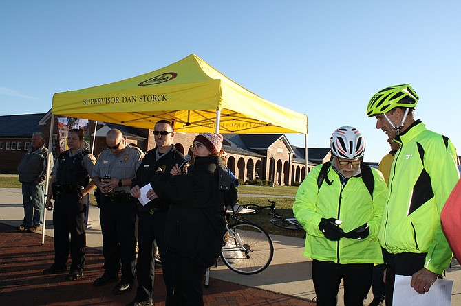 Cyclists gather at the Workhouse Arts Center for the Tour de Mount Vernon.