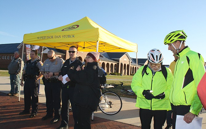 Supervisor Storck; Chief of Staff Christine Morin; Officer Brian Ruck, the police commander at the Mount Vernon District Station; and Commander Greg Fried from the Franconia Station were on hand at the Workhouse to see the riders off.