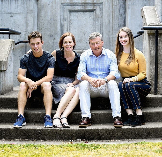 Christian G. Sullivan, who will become Bullis School's sixth Head of School on July 1, 2020, is shown with his family: son Matthew, wife Lisa Isenman and daughter, Lexy.