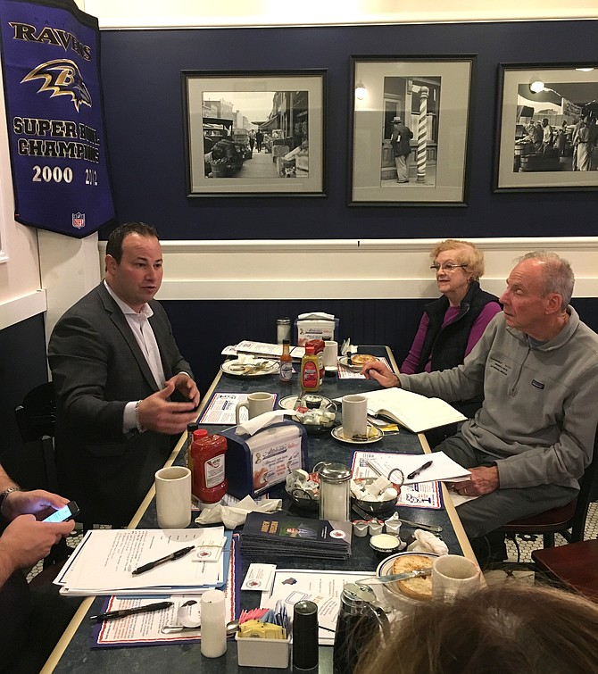 """County Councilmember Andrew Friedson meets with District One residents at a """"Fridays with Friedson"""" event in Potomac."""