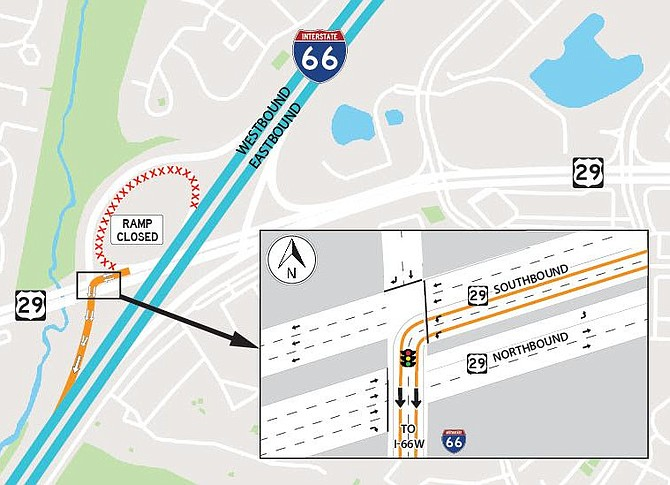 Traffic pattern changes at the I-66/Route 29 Interchange in Centreville beginning on or about Oct. 28, 2019. Drivers traveling on Route 29 South will access I-66 West by turning left at the traffic signal and joining the ramp from Route 29 North to I-66 West.