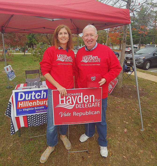 Richard Hayden at Mount Vernon Government Center polling place with Valerie Wohlleben, Mount Vernon Magisterial District Chair for the Fairfax County Republican Committee.
