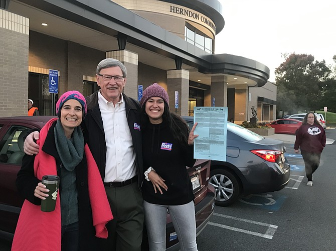 State Sen. Jennifer Boysko (D-33), Supervisor John Foust (D-Dranesville) and campaign worker Camila Alfonzo of McLean, on Election Day 2019 at Precinct 320, Herndon #2, Herndon Community Center, 814 Ferndale Ave.