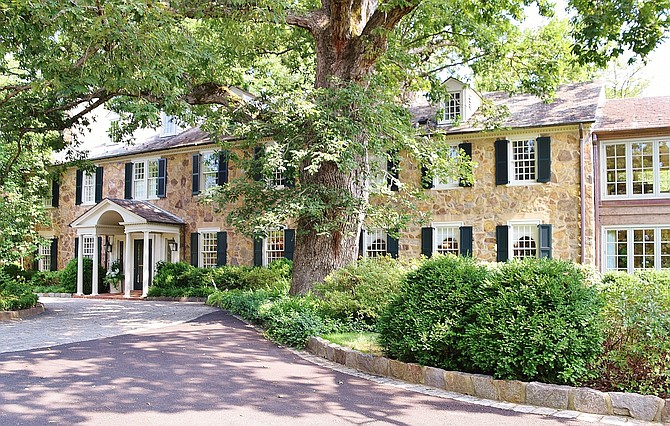 Colonial Revival Stone Manor House at Ballantrae Farm Estate.