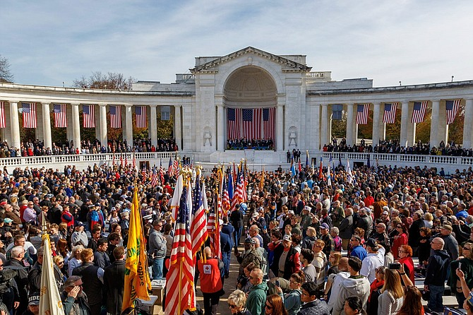 Thousands gather in the Memorial Amphitheater for the Veterans Day National Ceremony Nov. 11 at Arlington National Cemetery.