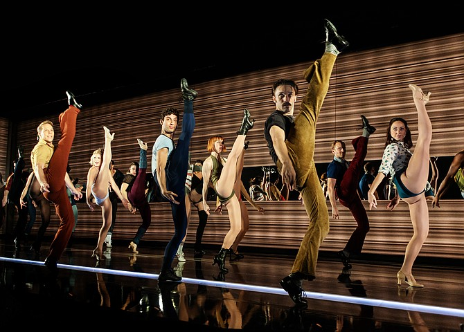 """Joshua Buscher (Larry), Daxx Jayroe Wieser (Mark), Bryan Charles Moore (Don) and the cast of """"A Chorus Line"""" at Signature Theatre."""