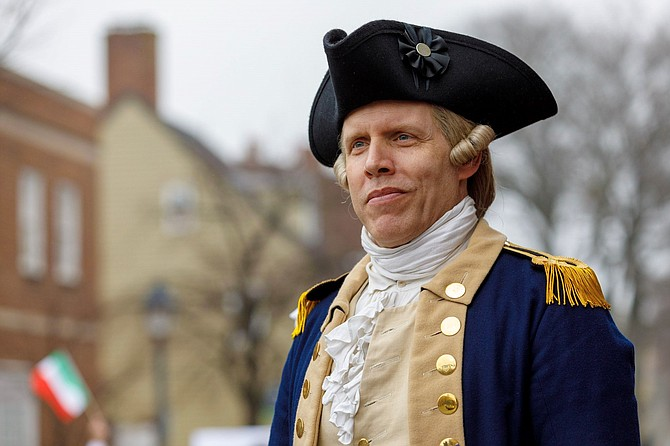 "Brian Hilton, as General George Washington, will be the honored guest at the first ""Dinner With Washington"" interpretive evening Nov. 16 at Landini Brothers Restaurant."