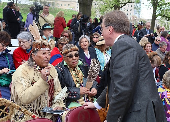 Del. Paul Krizek speaking with Virginia Chiefs at the dedication of the Mantle, a Native American monument on the grounds of the Virginia State Capitol.