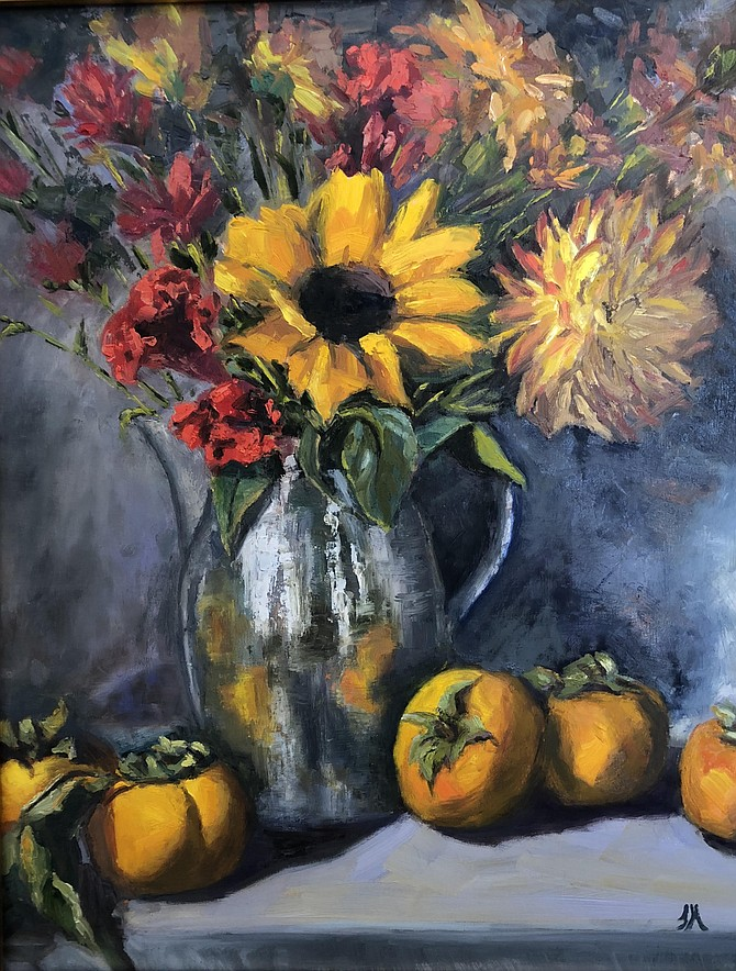 Autumn Bouquet with Pewter Pitcher, by Theresa Miller.