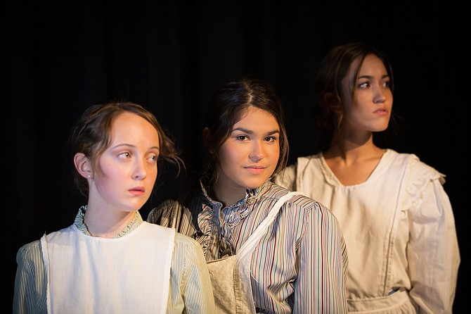 From left: Aren Iverson, Mincy Barbosa, Shaylen Estrella  in South County High School's production of 'Radium Girls.'