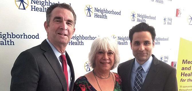 Nora Partlow with Gov. Ralph Northam and Dr. Basim Kahn, executive director of Neighborhood Health.