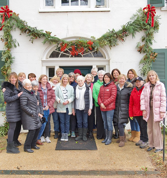 Little Farms Garden Club of Potomac decorating the Tavern at Great Falls. Traci Hoffman, Pat Dean, Monique Fields, Aida Middel, Carol King, Jan Shafer, Christy McCormick, Patti Marsh, Carolyn Degroot, Amy Micholas, Sandy Lavery, Sara Boyan, Patricia Olson, Trish LaVelle, Regina Kunkle, Deb McDonald, Suzanne Eastman, Mary Grace Day, Grace Road, Charlie Wilson, Alvina Lond, Pat Grafton, Jean Taylor, Trish Elliot, Sheila Duncan, and Anne Killeen.