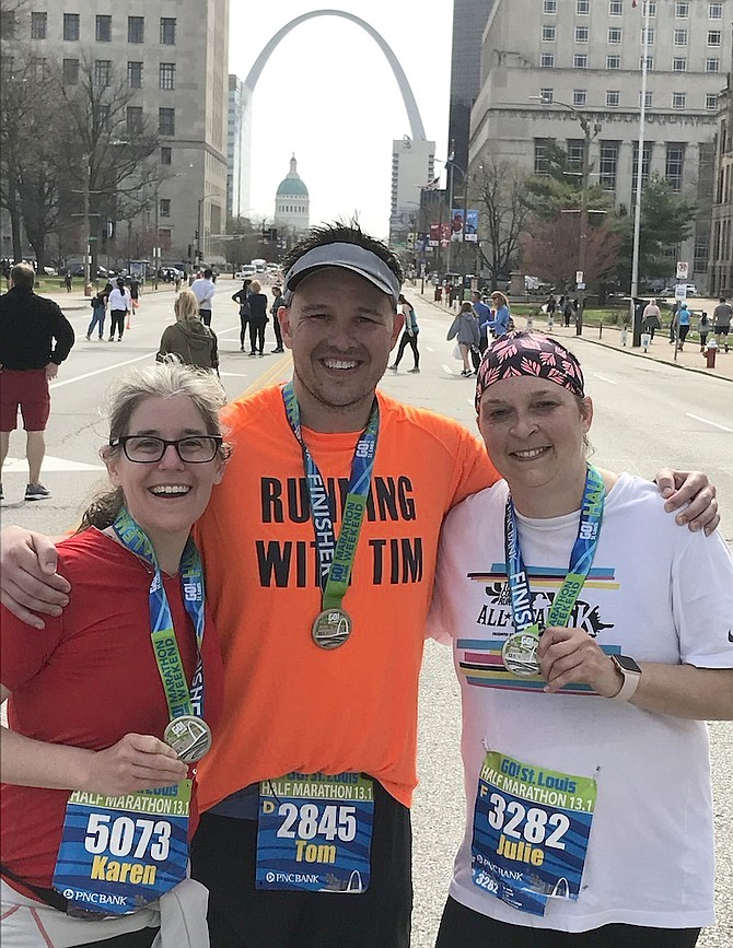 In St. Louis, Missouri, Tom Susco of Arlington finishes his quest to run a marathon or half marathon in every state and D.C. in honor of his brother Tim, raising awareness for brain aneurysms and organ donation. It took eight years to complete.