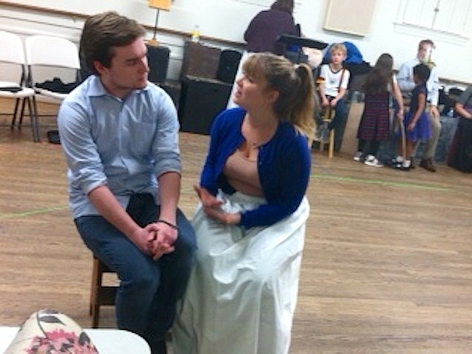 """A Christmas Carol"" rehearsal with Belle (Emily Hemmingson) breaking off the engagement with Young Scrooge (Devin Walsh)."