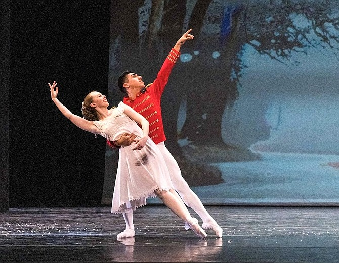 "Oakton High School's Nicole Shortle and GMU's Carlos Martinez dance ""The Nutcracker."""