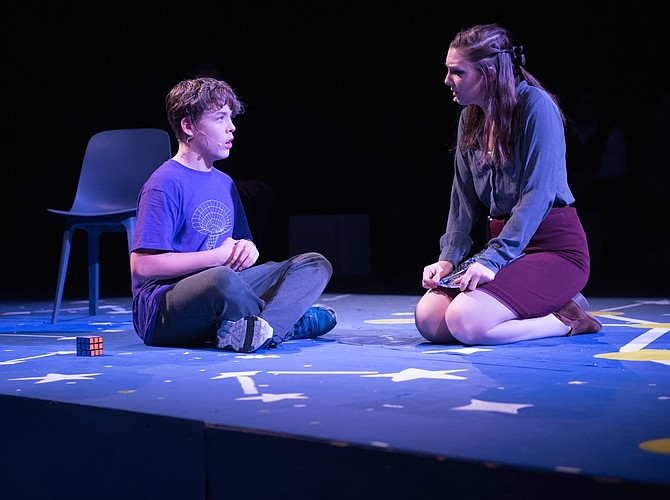 "Harry MacInnis and Becca Diggs in the Robinson Secondary School's production of ""The Curious Incident of the Dog in the Night-Time."""