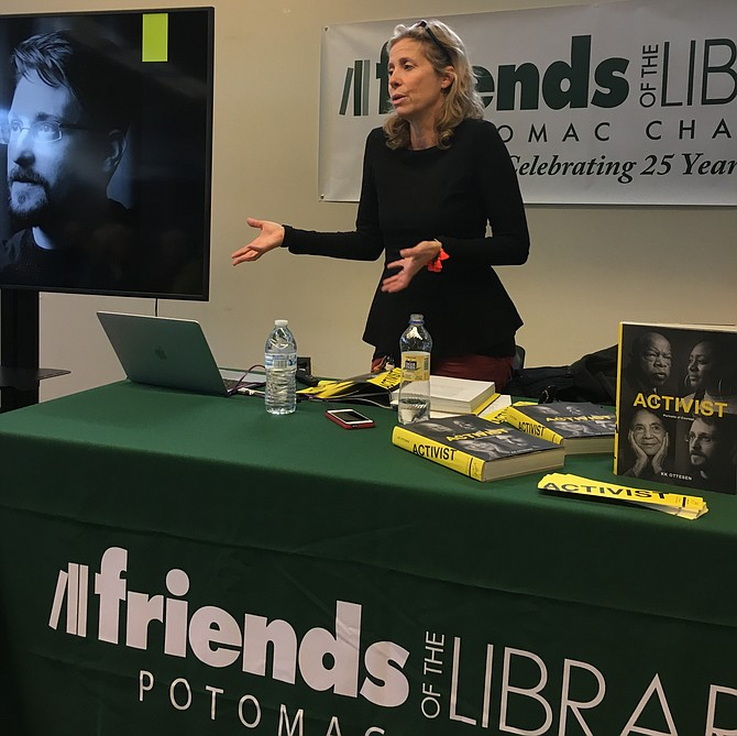Author KK Ottesen spoke about her latest book: Activist: Portraits of Courage, on Saturday, as part of the Potomac Friends of the Library Winter Author Series.