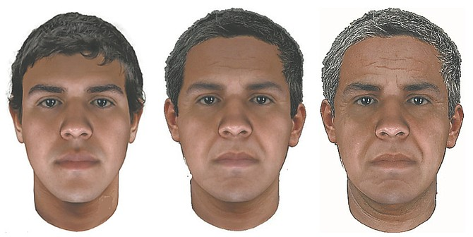The composite sketches are a representation of what the suspect may look like at age 25, 40 and 55 years old.