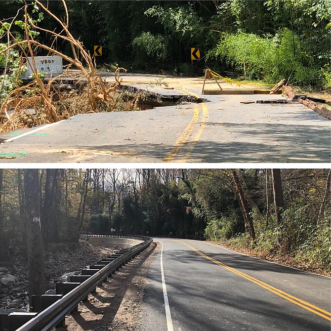 Kirby Road, along Little Pimmit Run and across Pimmit Run in McLean, was most heavily damaged by flooding last summer. The reconstruction of the road portion of Kirby Road was completed on Nov. 14.