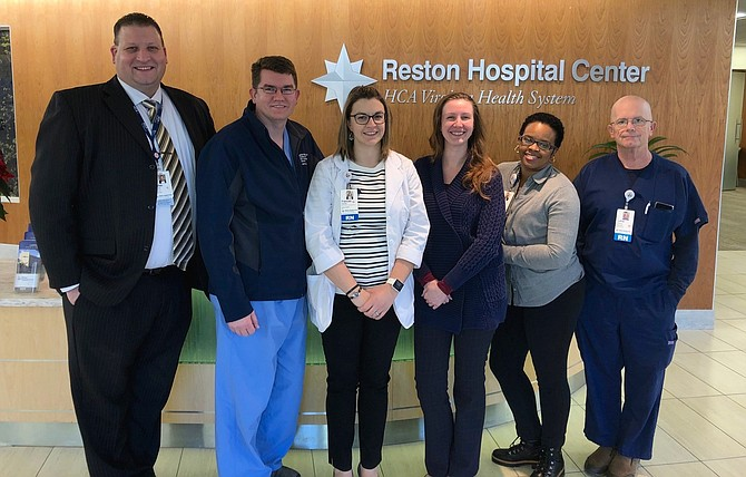 The Reston Hospital trauma team includes, from left: Dallas Taylor, Dr. Brett Sachse, Frances Hughes, Jessica Fuerstinger, Dionne Campbell and Luther Surface.