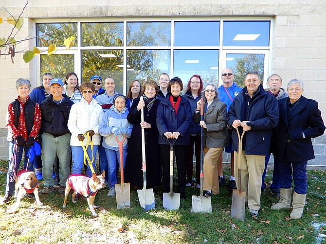 The Friends of the Fairfax County Animal Shelter, including (in front row) former shelter Director Karen Diviney, then-county Supervisors Chairman Sharon Bulova, Evelyn Grieve and Michael Frey, break ground for the shelter's tribute garden.