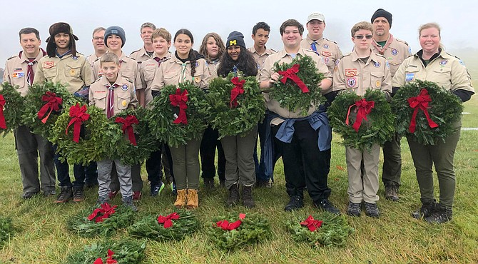 The scouts from the Chantilly/Centreville area headed out to Cheltenham Veterans Cemetery in Maryland to participate in the Wreaths Across America event.